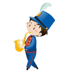 boy in blue uniform playing saxophone vector image
