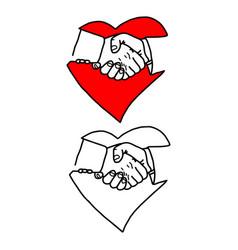 Business handshake in heart signp vector