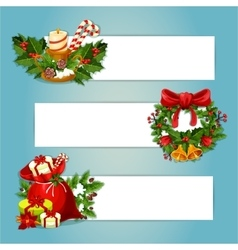 Christmas banner set with gift and holly wreath vector image vector image