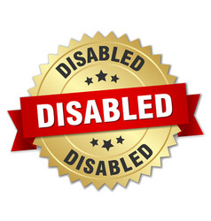 Disabled 3d gold badge with red ribbon vector