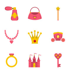Doll princess icon set flat style vector