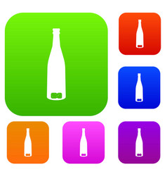 Empty wine bottle set collection vector