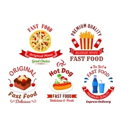 Fast food cafe and pizzeria cartoon icons vector