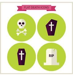Flat halloween death website icons set vector