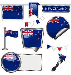 Glossy icons with new zealander flag vector