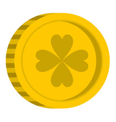 Golden coin with clover sign icon isolated vector