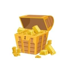 Half open pirate chest with golden bars hidden vector