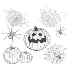 halloween collection of drawings vector image vector image