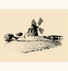 hand sketch of rustic windmill in fields vector image vector image