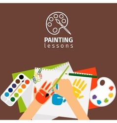 Kids painting lessons vector
