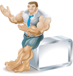 Muscular businessman vector