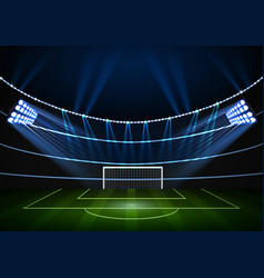 Night football stadium with the wall of lights vector