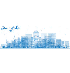 Outline springfield skyline with blue buildings vector