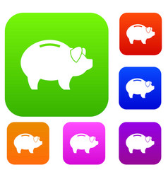piggy set collection vector image vector image