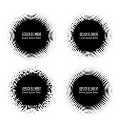 Pop art halftone logo circles set vector