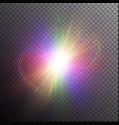 Rainbow hearts with light effects vector
