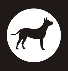 Silhouette of a dog on white circle vector