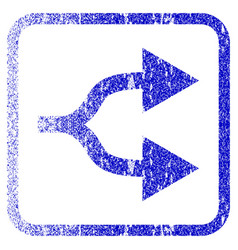 Split arrows right framed textured icon vector