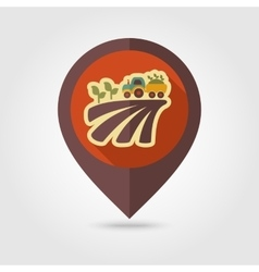 Tractor on field harvest flat mapping pin icon vector