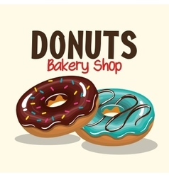 two donuts tasty sweet graphic vector image