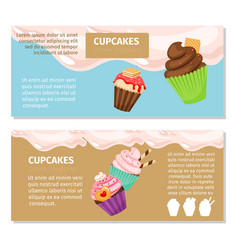 Cupcakes and muffin flyers design vector