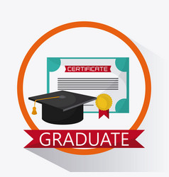 Graduation cap diploma university icon vector