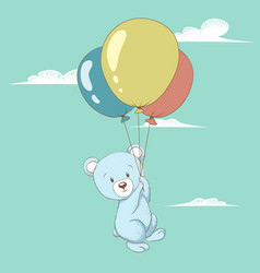Cute bear flying with balloons vector