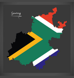 Gauteng south africa map with national flag vector