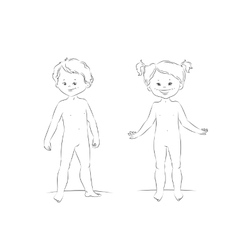 Standing boy and girl front view vector