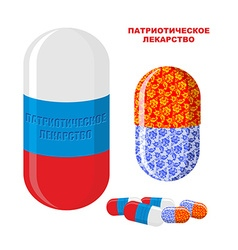 Patriotic medicine in russia pills with a russian vector