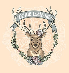 Valentines Day card with a deer a flower wreath vector image