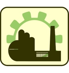 Factory and gear outline vector