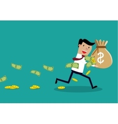Careless businessman carrying a torn money bag vector