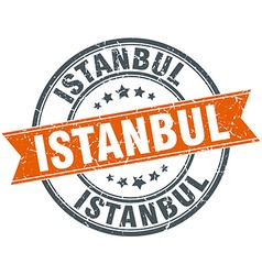 Istanbul red round grunge vintage ribbon stamp vector