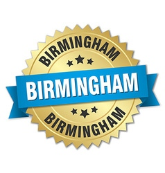 Birmingham round golden badge with blue ribbon vector