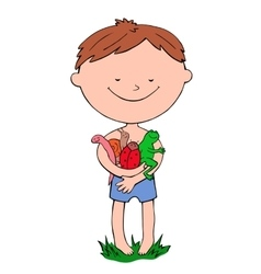 Boy holds in hands a worm ladybug snail and frog vector image