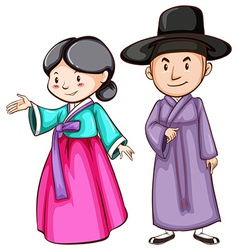 A male and a female Asian vector image vector image