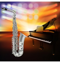 abstract jazz background with saxophone and grand vector image vector image