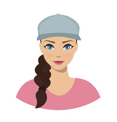 Avatar icon of girl in a baseball cap vector