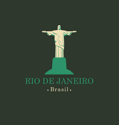 banner with statue of christ the redeemer in rio vector image vector image