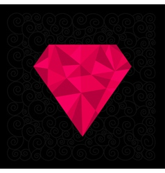 Big pink polygonal diamond on the black background vector image