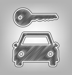 Car key simplistic sign pencil sketch vector