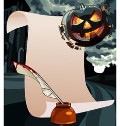 cartoon blank card with a greeting on Halloween vector image