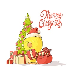 Chicken near a christmas tree vector