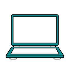Color silhouette image of laptop computer vector
