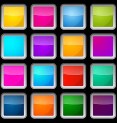 Colorful Square Glass Buttons Set on Black vector image