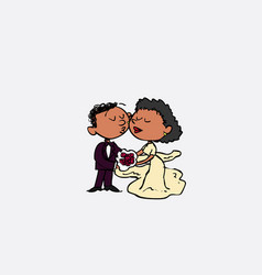 couple of black newlyweds kissing isolated vector image vector image