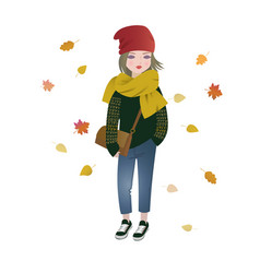 cute fashion cartoon girl in trendy autumn outfit vector image vector image