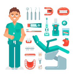 dental icons set dentist tools dentistry vector image