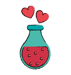 Drawing bottle elixir love potion hearts vector